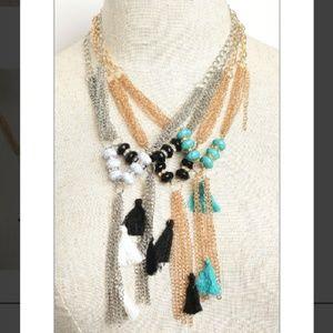 NWT Chain Tassle Bead Drop Necklace